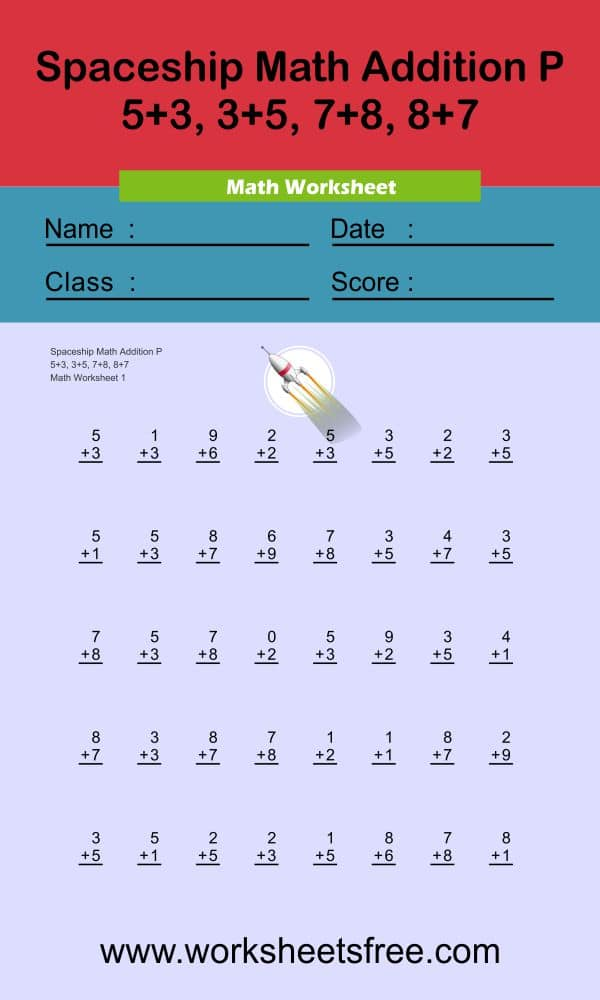 Spaceship Math Addition P 1