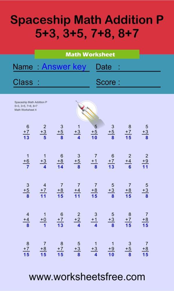 Spaceship Math Addition P 4 + answer