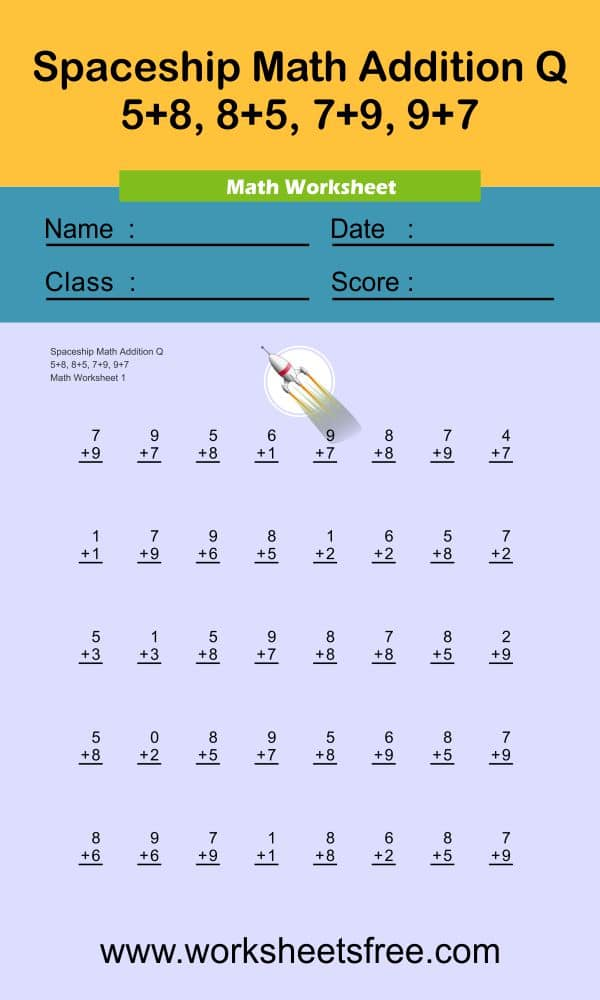 Spaceship Math Addition Q 1