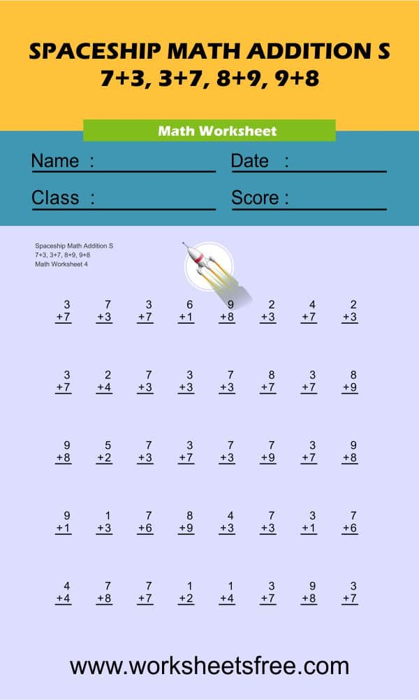 Spaceship Math Addition S