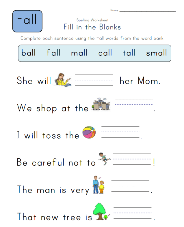 Spelling -all Words - Spelling Worksheets Complete the Sentences with -all Words