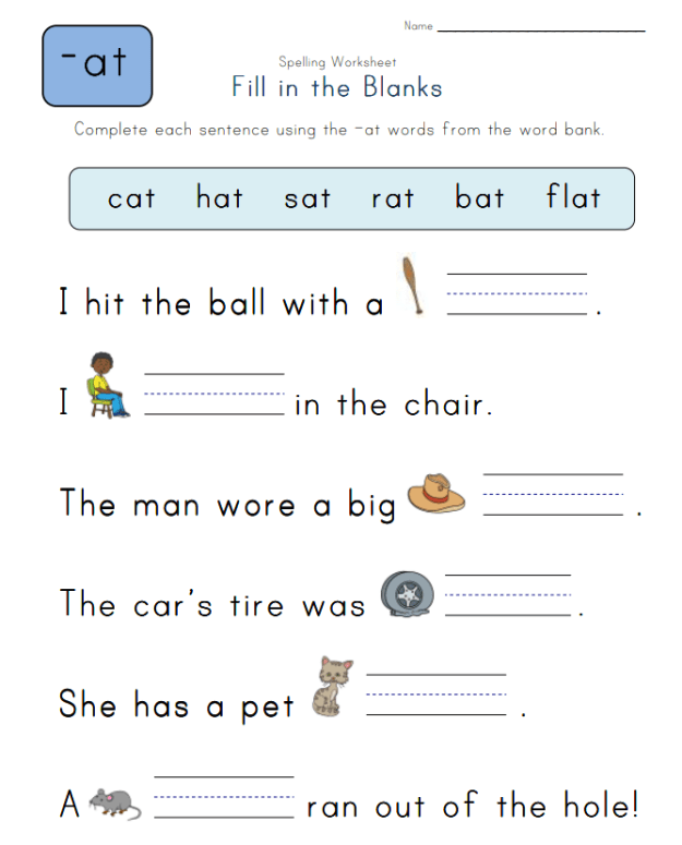Spelling -at Words - Spelling Worksheets Complete the Sentences with -at Words