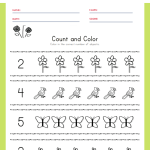 Spring Count and Color Worksheet