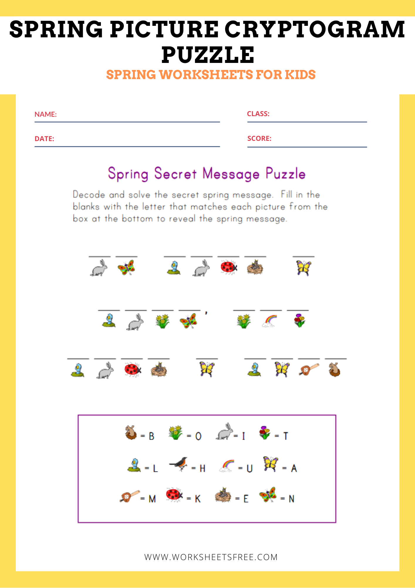 Spring Picture Cryptogram Puzzle