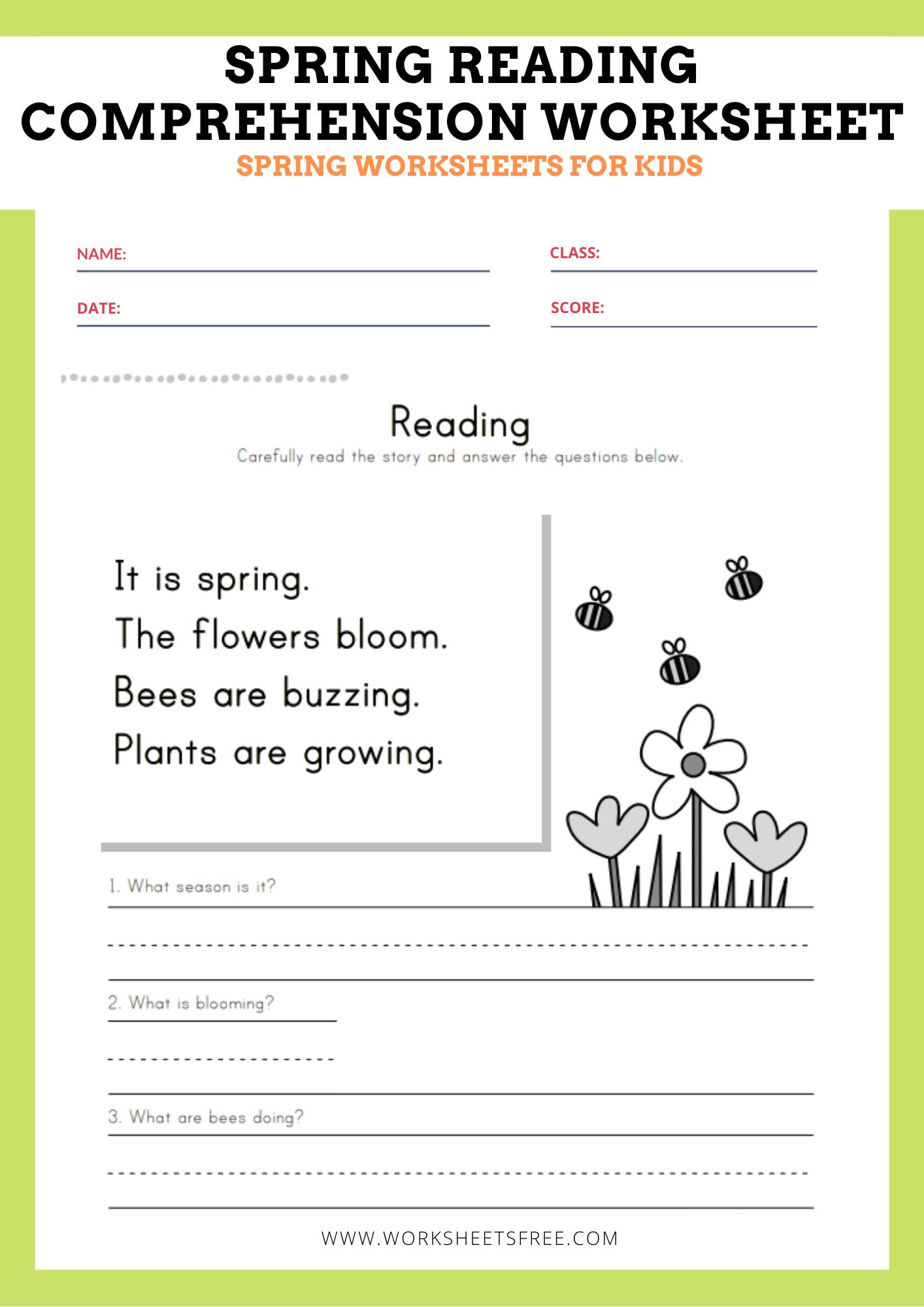 Spring Reading Comprehension Worksheet