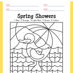 Spring Showers Color by Numbers