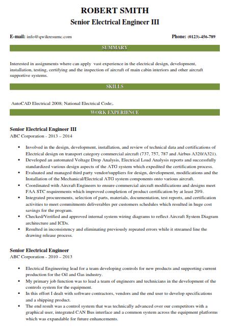 Sr Electrical Engineer Resume Example 3