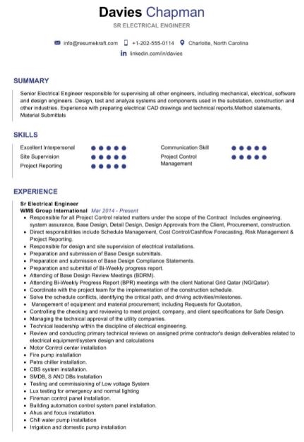 Sr Electrical Engineer Resume Example 4
