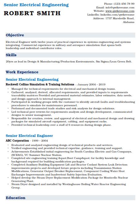 Sr Electrical Engineer Resume Example 5