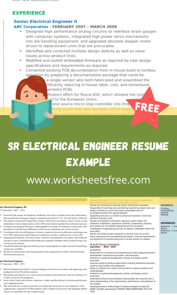 Sr Electrical Engineer Resume Example