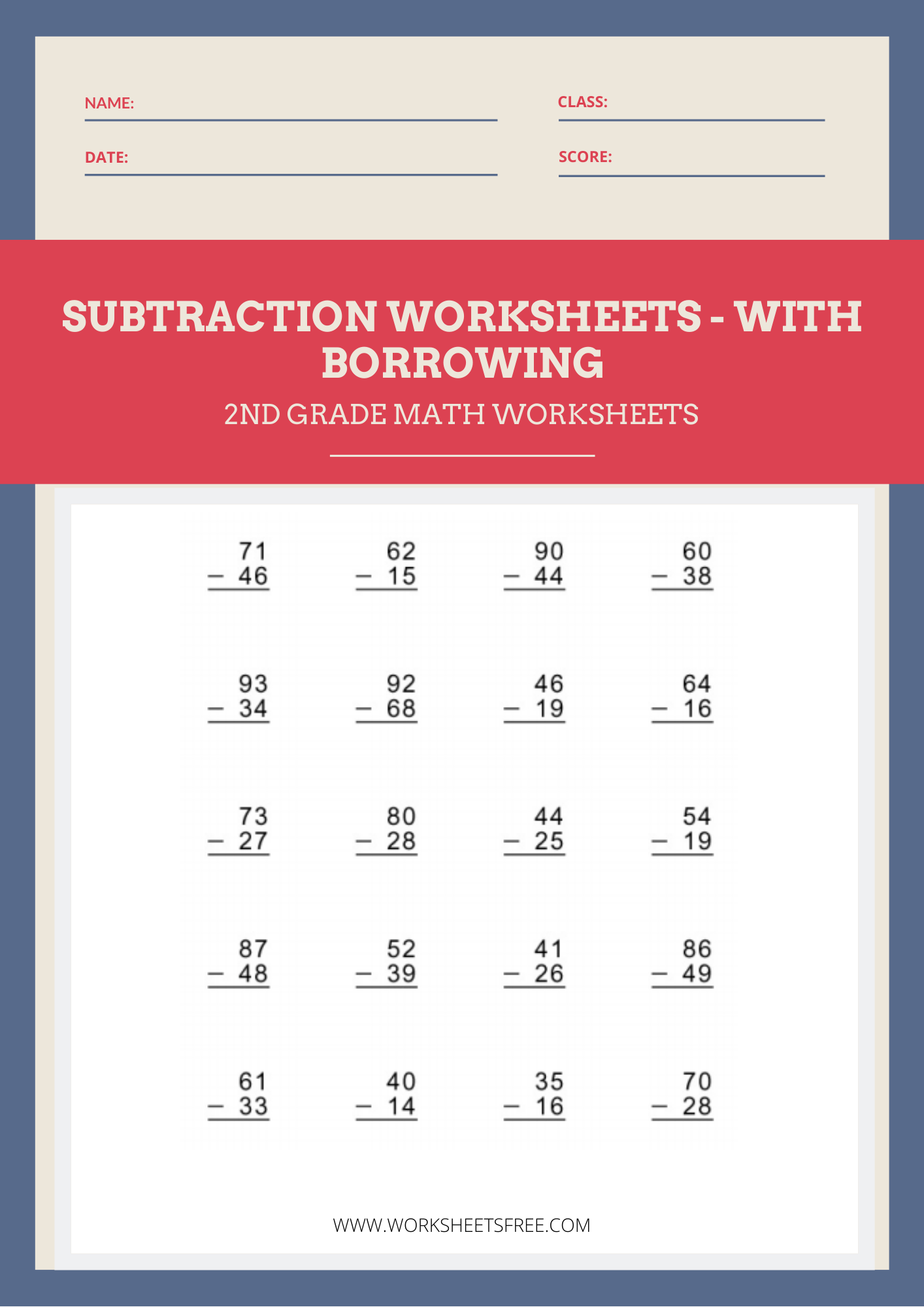 Subtraction With Borrowing Worksheet 2