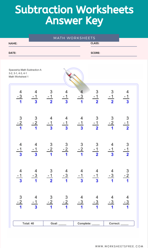 Subtraction Worksheets Answer Key
