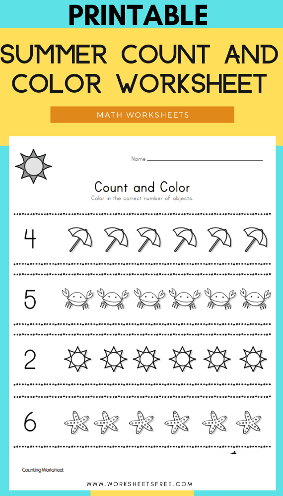 Summer Count and Color Worksheet