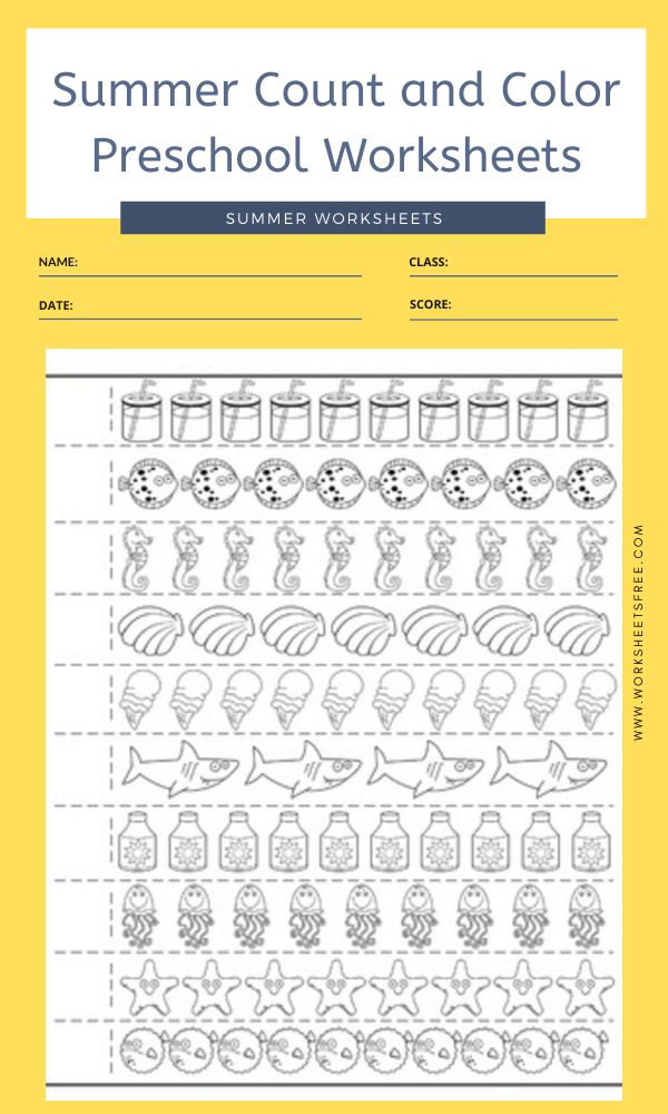 Summer Counting Practice Worksheet 1