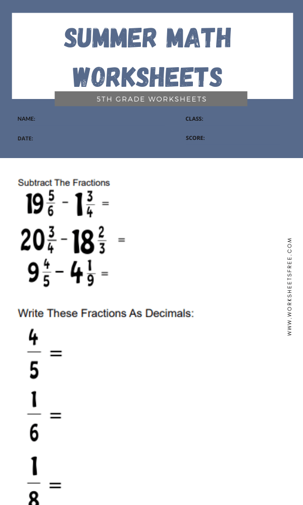 Summer Math Worksheets 5th Grade 7