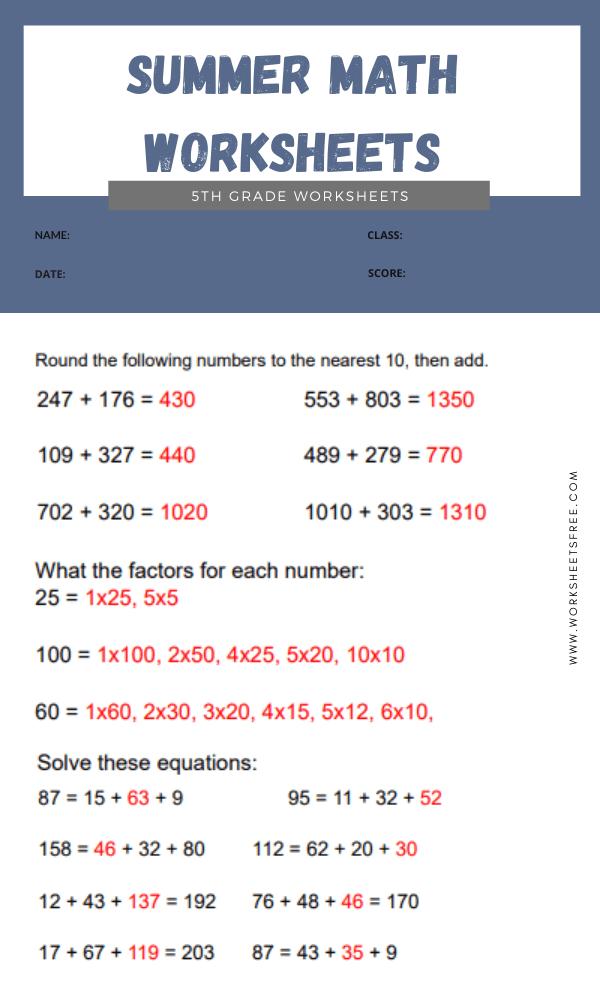 Summer Math Worksheets 5th Grade answer 4