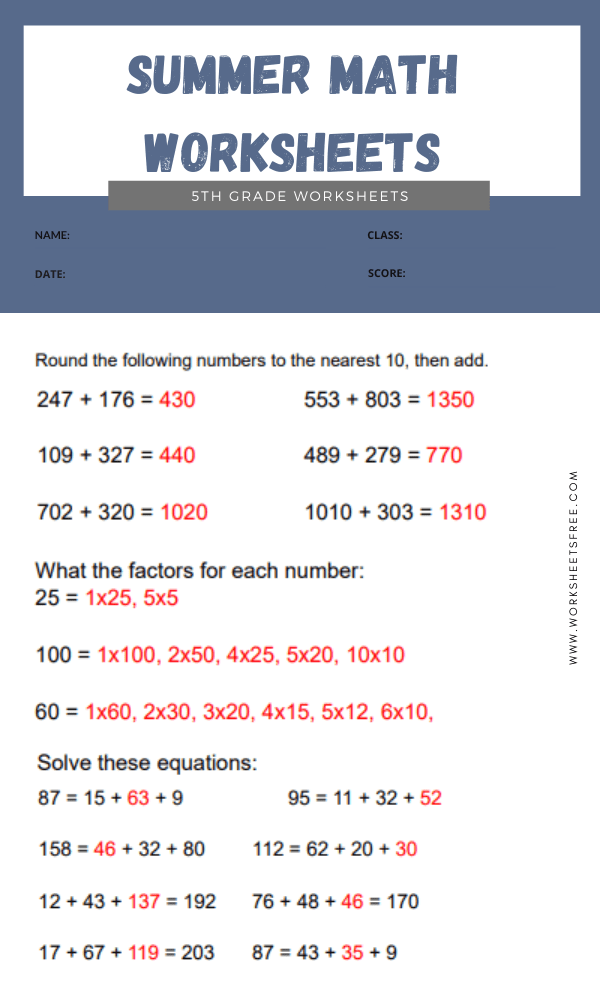 Summer Math Worksheets 5th Grade answer 4
