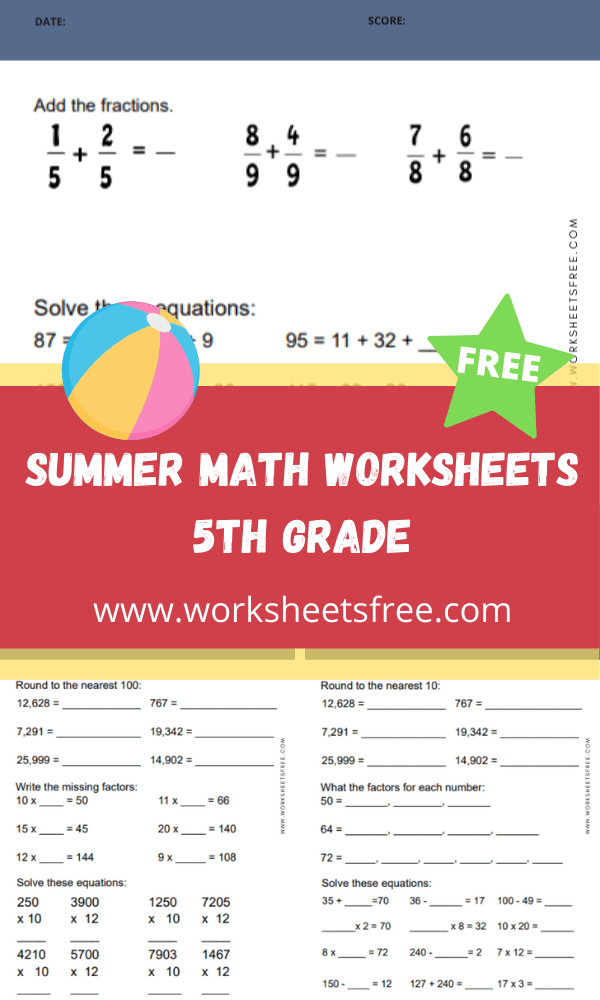 Summer Math Worksheets 5th Grade