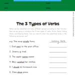 The 3 Types of Verbs Worksheet