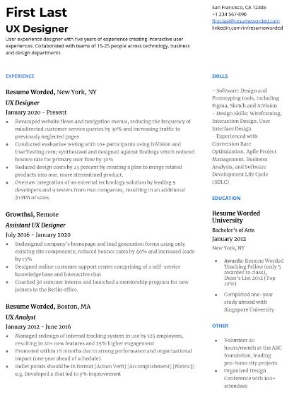 UX Designer Resume Sample 1