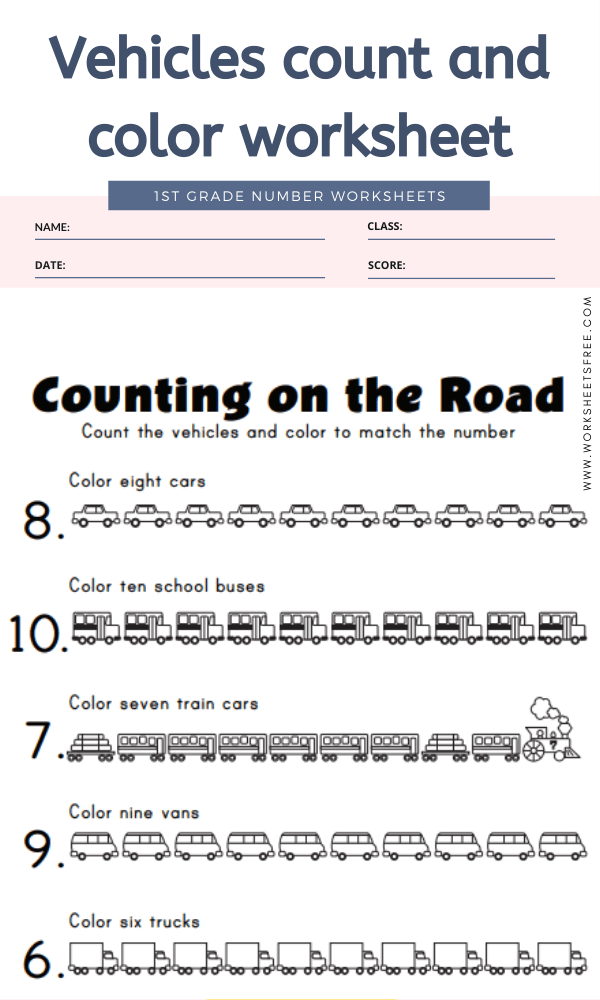 Vehicles count and color worksheet