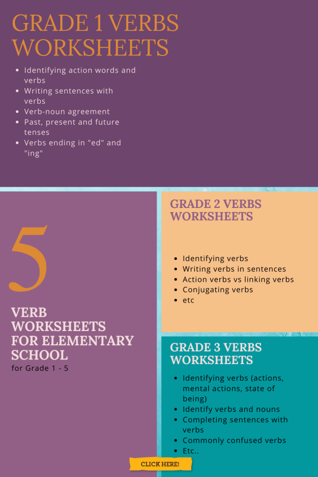 Verb Worksheets for Elementary School