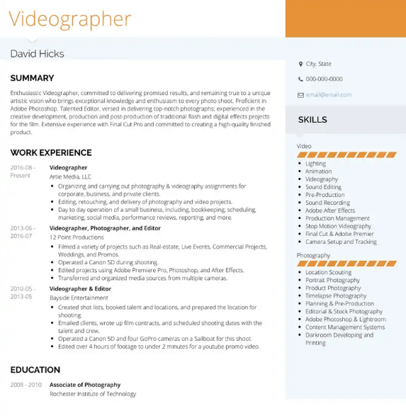 Videographer Resume Sample 2