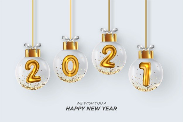 We wish you a happy new year card with realistic christmas balls white background Free Vector