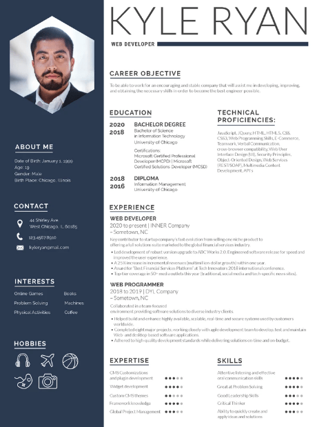 Web Developer Resume Example 1