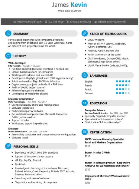 Web Developer Resume Example 2