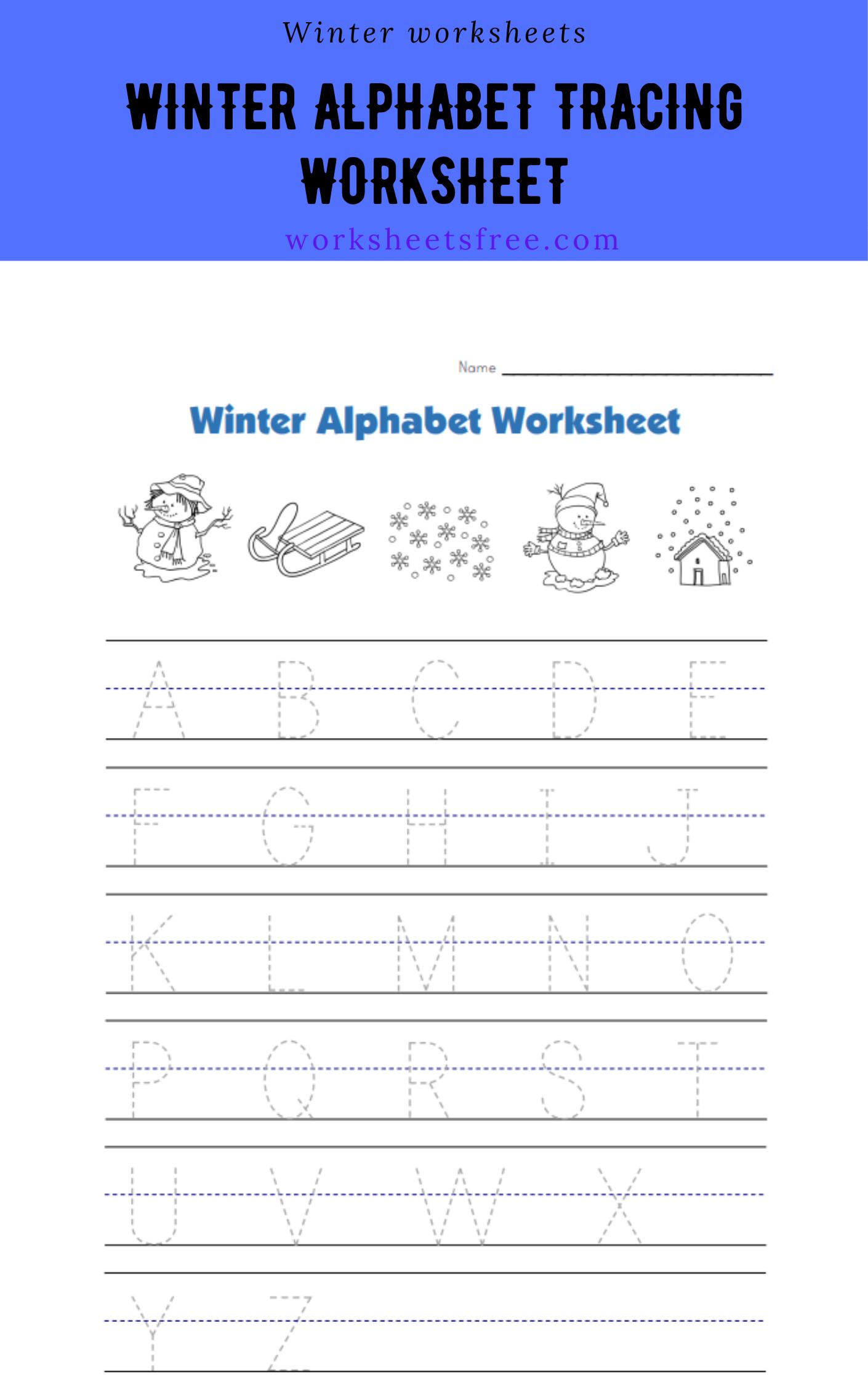 Winter Alphabet Tracing Worksheet