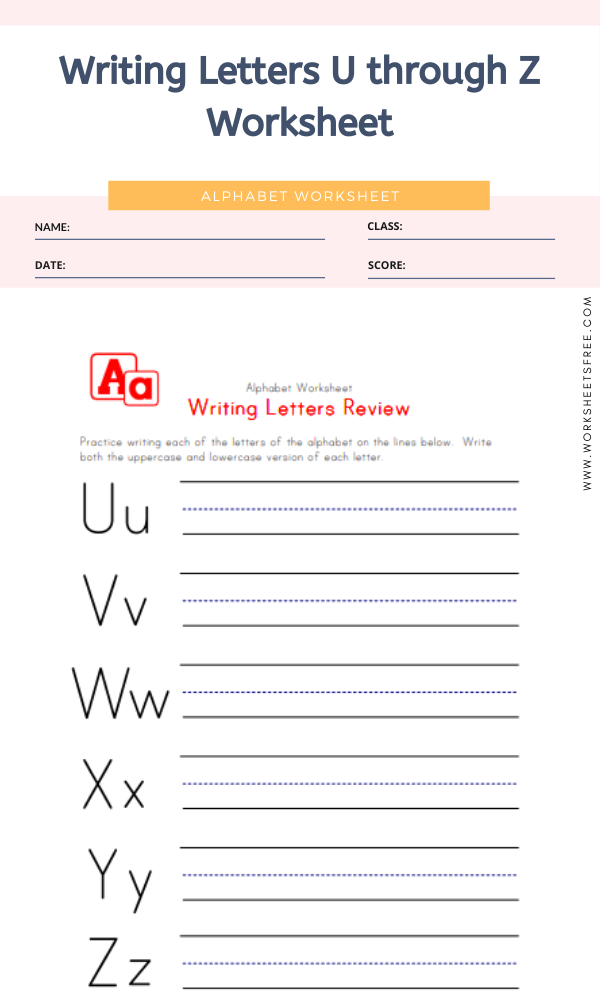 Writing Letters U through Z Worksheet