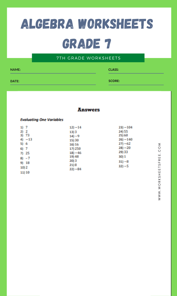 algebra worksheets grade 7 10