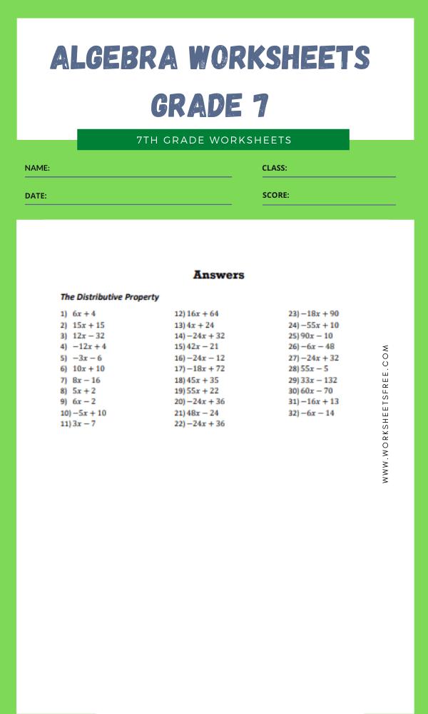 algebra worksheets grade 7 8