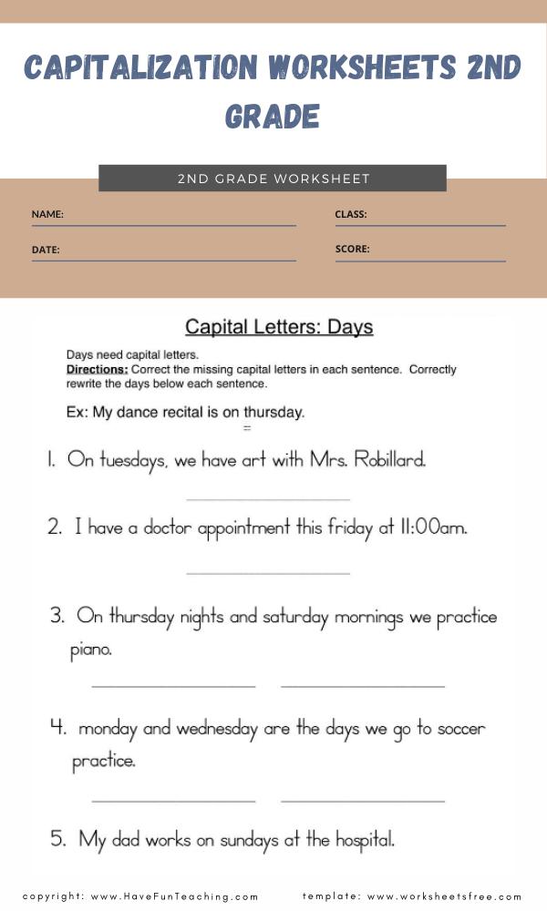 capitalization worksheets 2nd grade 4