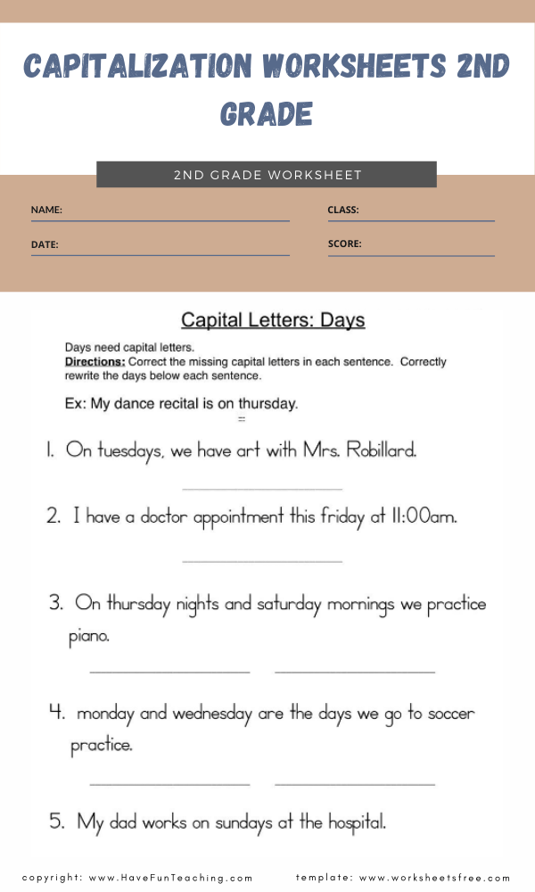 capitalization worksheets 2nd grade 4