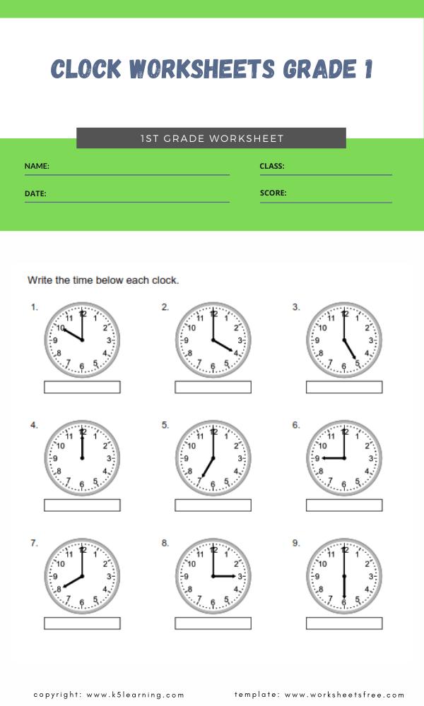 clock worksheets grade 1 1