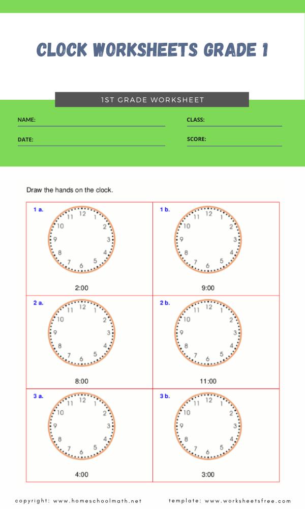 clock worksheets grade 1 3