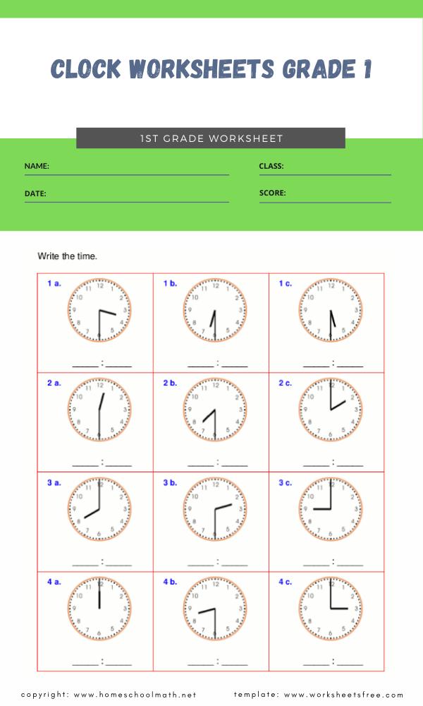 clock worksheets grade 1 4