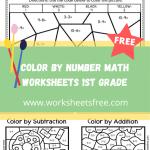 color by number math worksheets 1st grade