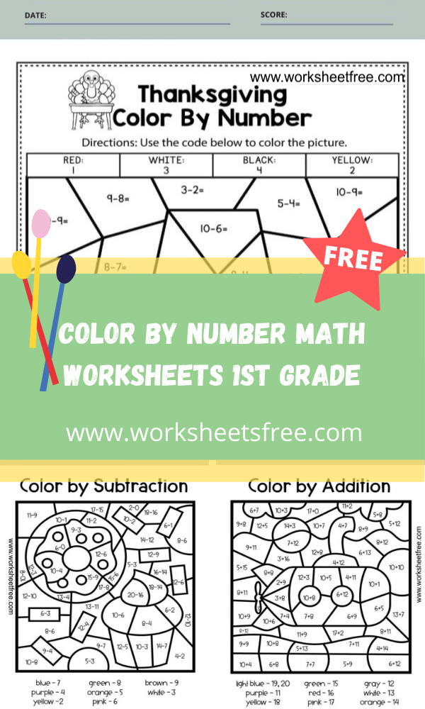 color by number math worksheets 1st grade