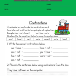 contractions worksheet 3rd grade 4contractions worksheet 3rd grade 4