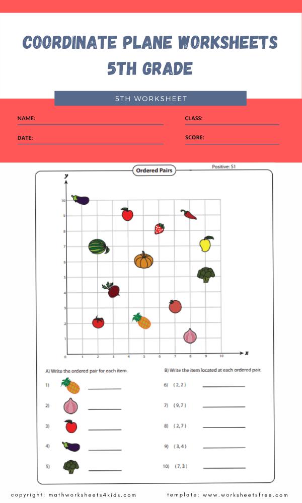 coordinate plane worksheets 5th grade 1