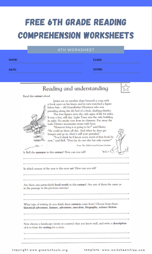free 6th grade reading comprehension worksheets 2