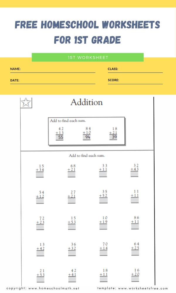 free homeschool worksheets for 1st grade 3
