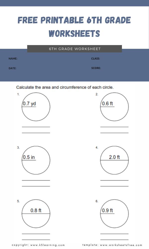 free printable 6th grade worksheets 5