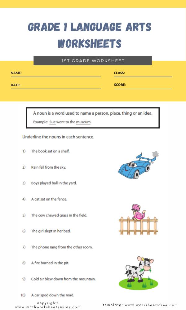 grade 1 language arts worksheets 3
