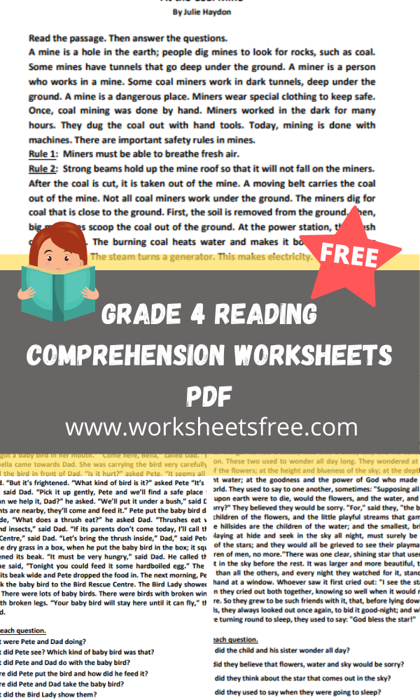 grade 4 reading comprehension worksheets pdf