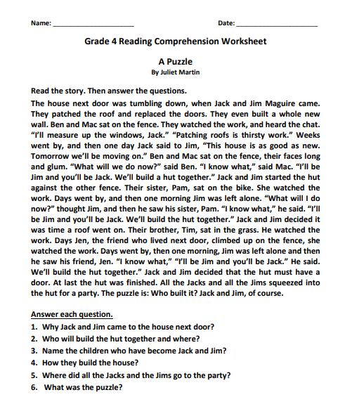 grade 4 reading comprehension worksheets pdf2