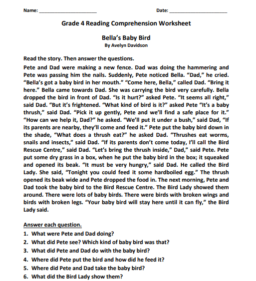 grade 4 reading comprehension worksheets pdf5